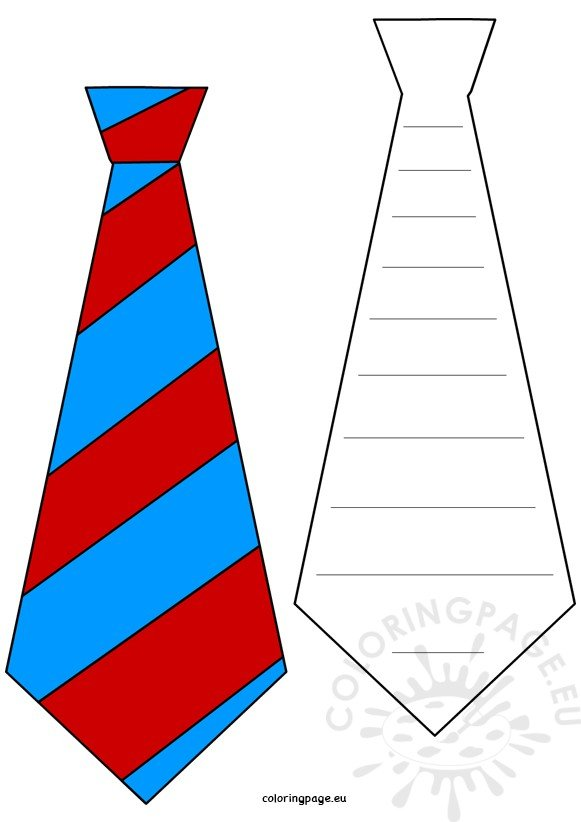 Fathers Day craft Tie bookmarks template Coloring Page
