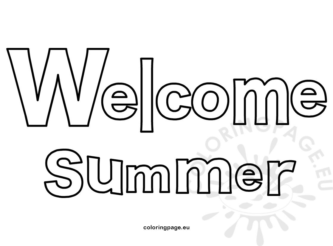 welcome summer letters vector illustration  u2013 coloring page