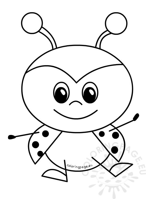 cartoon ladybug coloring pages | Happy Sweet Baby Ladybug – Coloring Page
