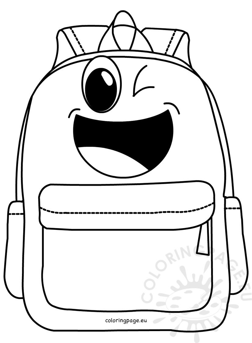 Cartoon School Backpack Coloring Page