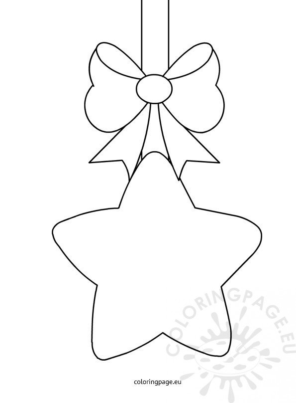 Christmas Star With Bow Template | Coloring Page