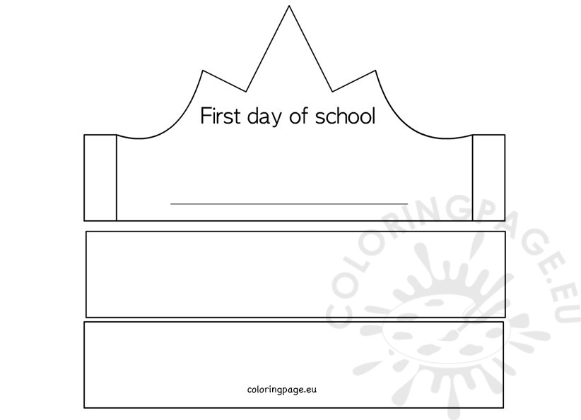 First Day Of School Crown Template  Coloring Page