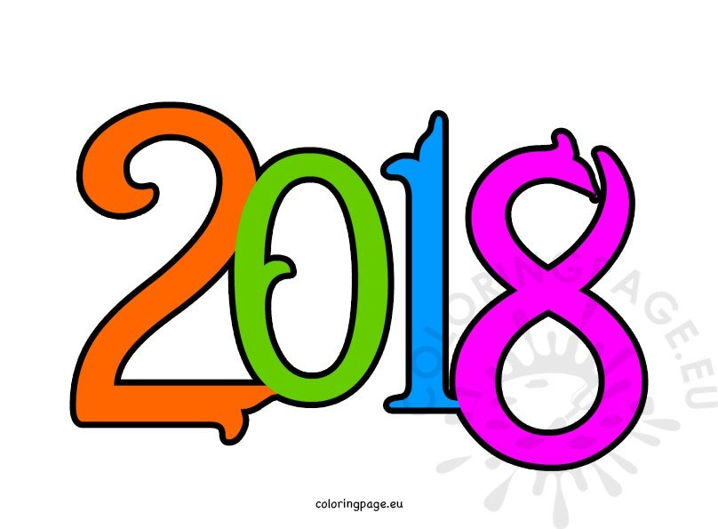 Happy New Year 2018 Clipart Coloring Page