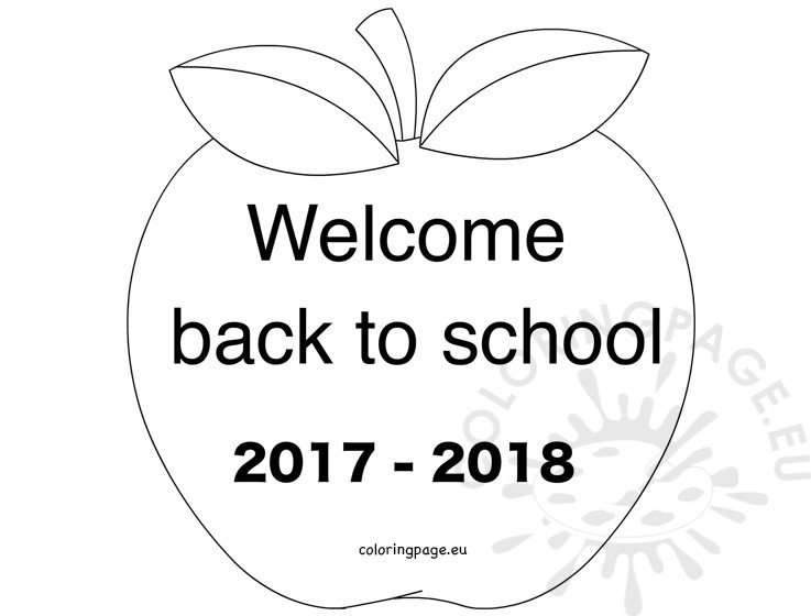 apple welcome back to school 2017 2018 - Welcome Back To School Coloring Pages