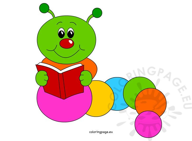 Caterpillar cartoon reading book