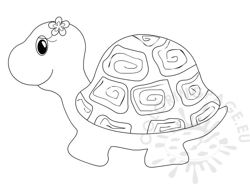 Cute turtle clipart coloring page for Cute turtle coloring pages