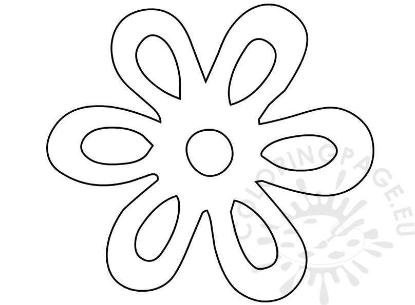 Flower 6 Petals Black Outline