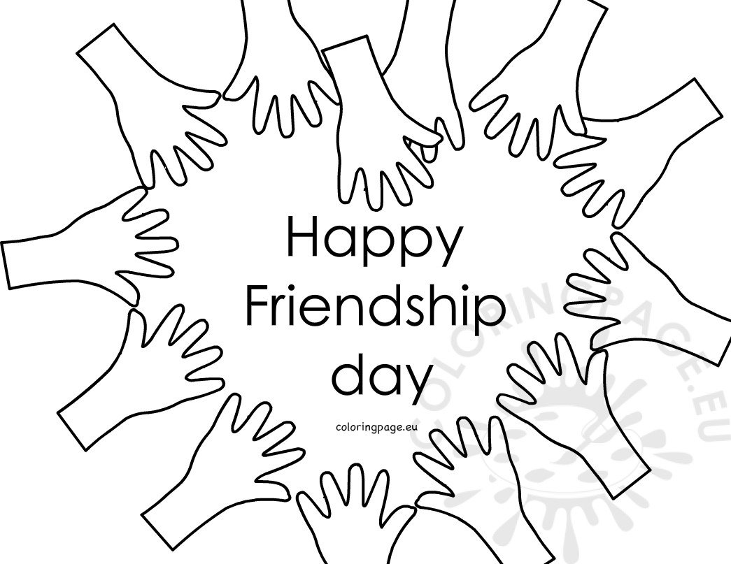 Happy Friendship Day Hands forming heart - Coloring Page
