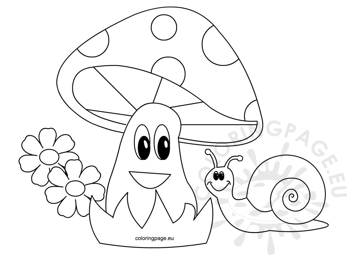 Happy snail with beautiful mushroom Coloring Page