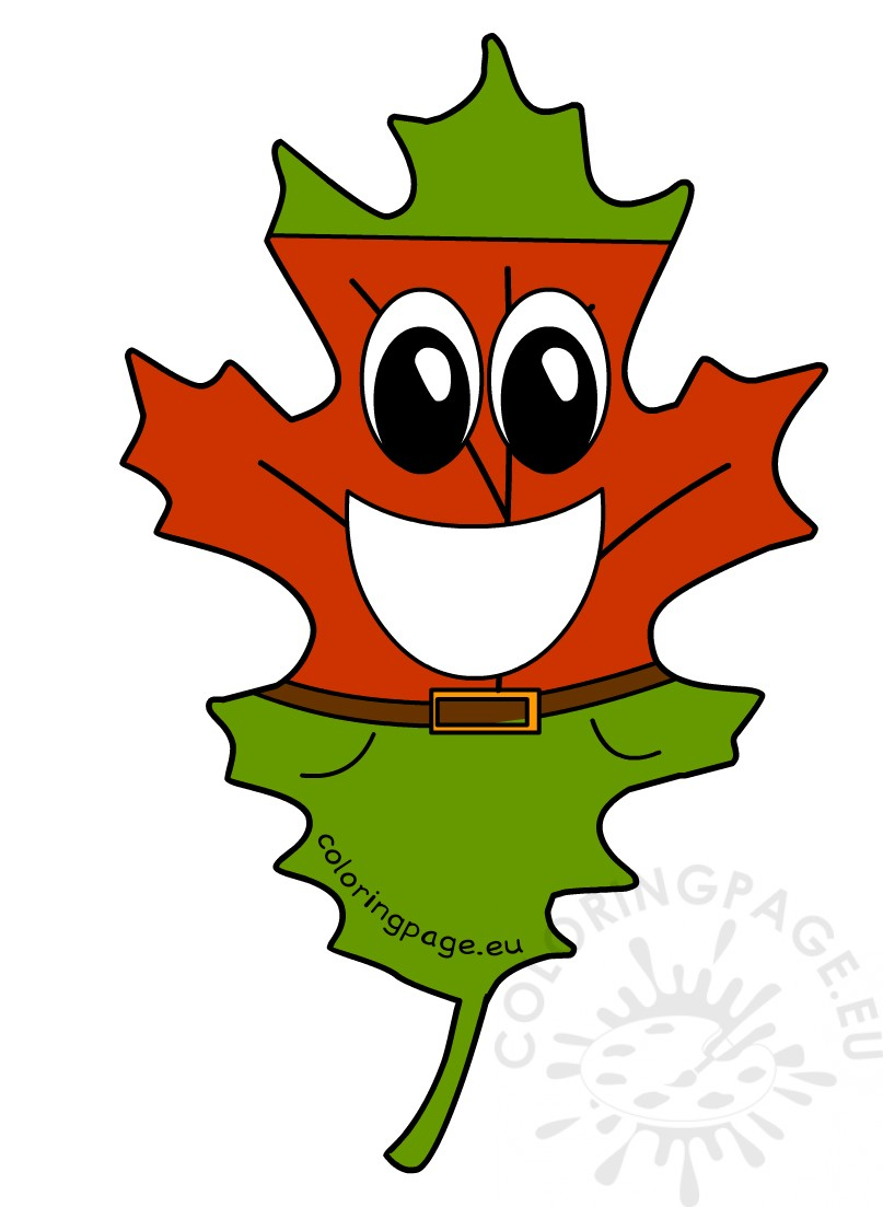 Cartoon Autumn Leaf Smiling | Coloring Page