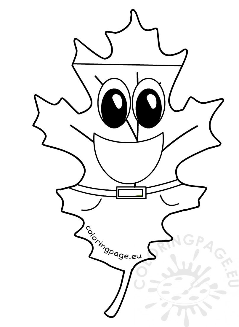 autumn coloring page leaf smiling coloring page