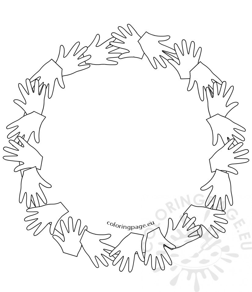 Black and White Circle Of Hands