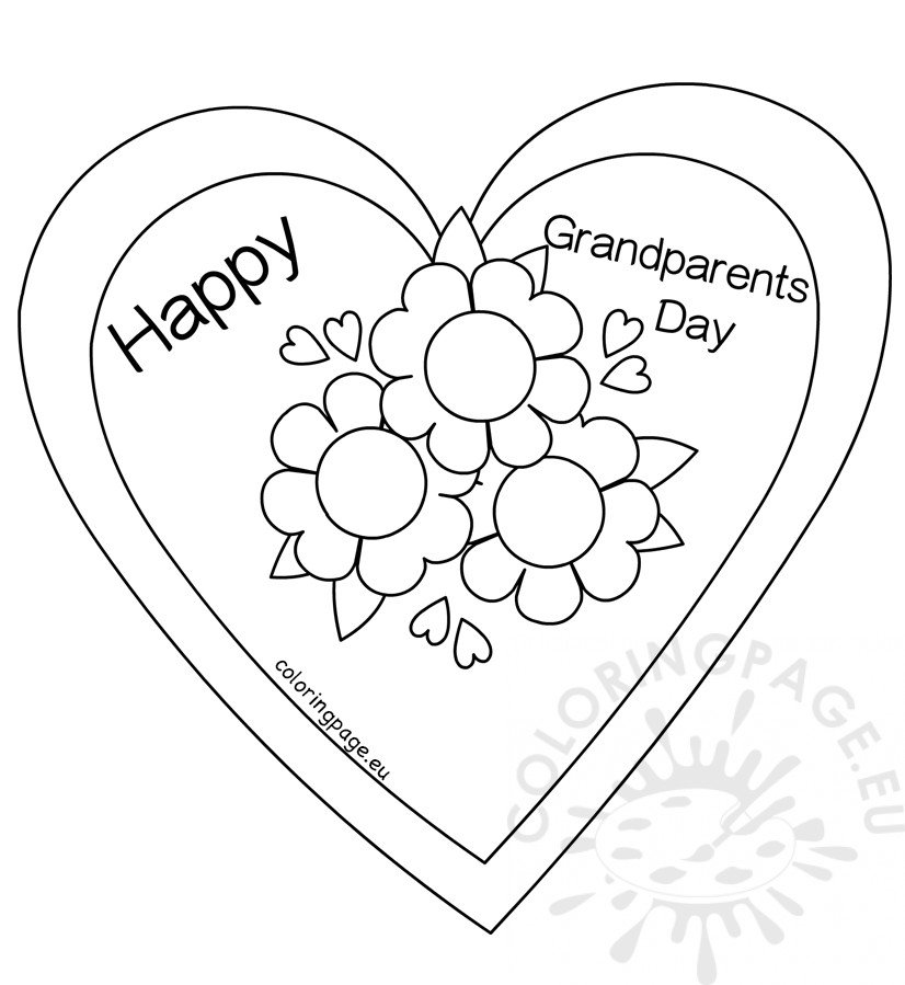 Flower Heart Card coloring page