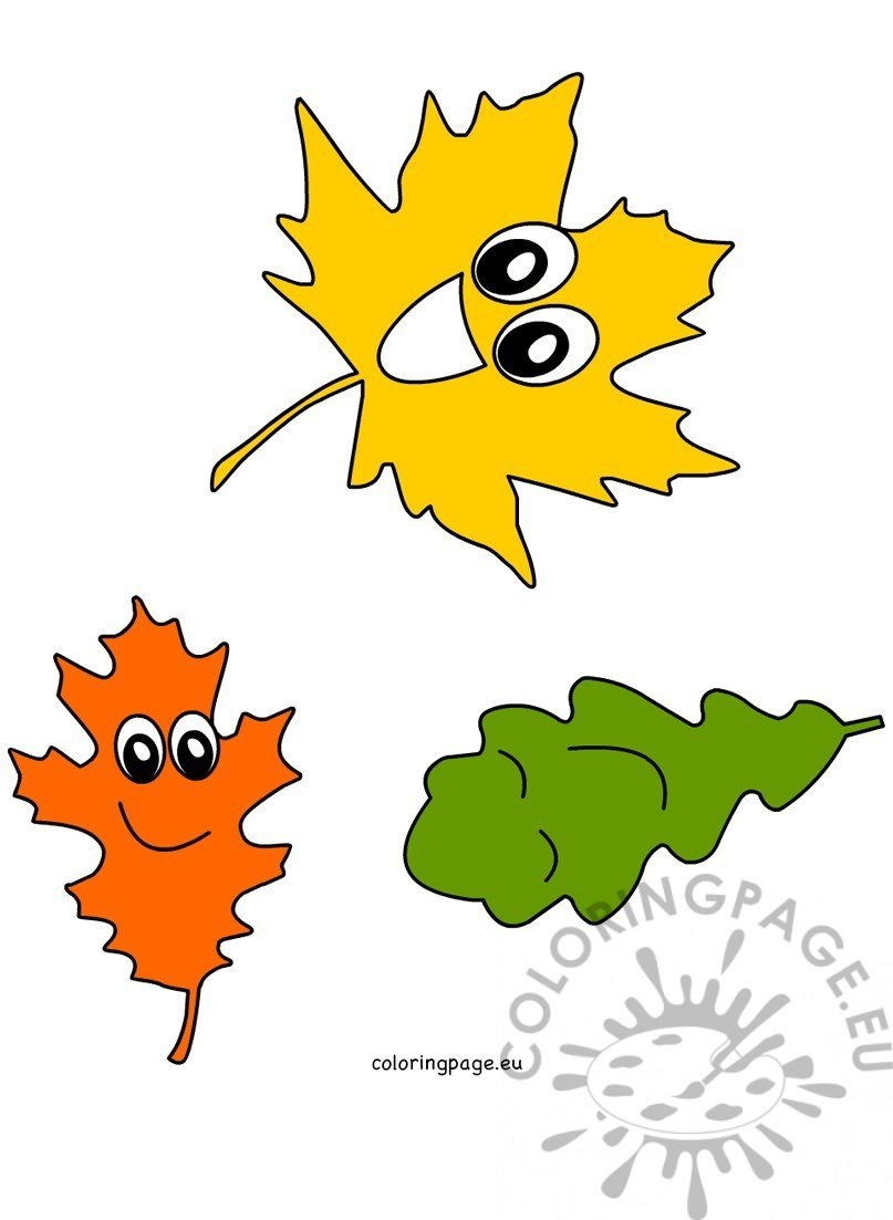 happy autumn leaves coloring page