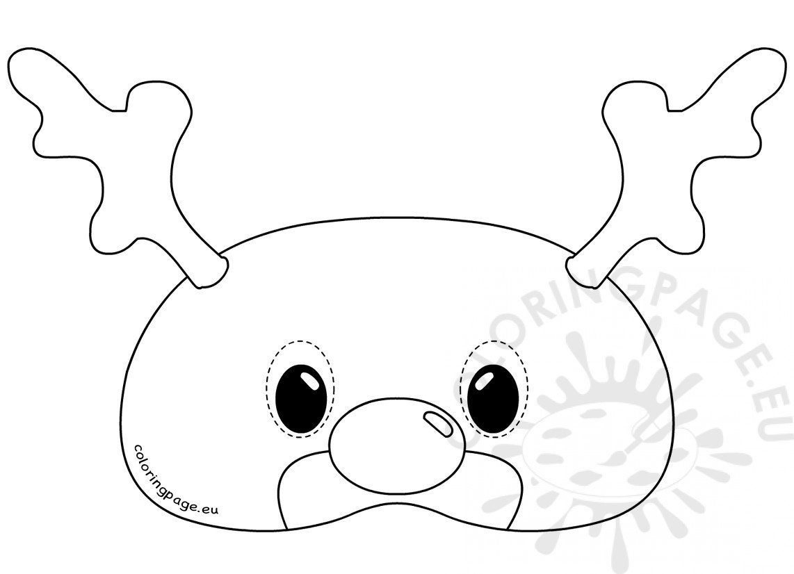 Felt Reindeer Mask Rudolph template | Coloring Page