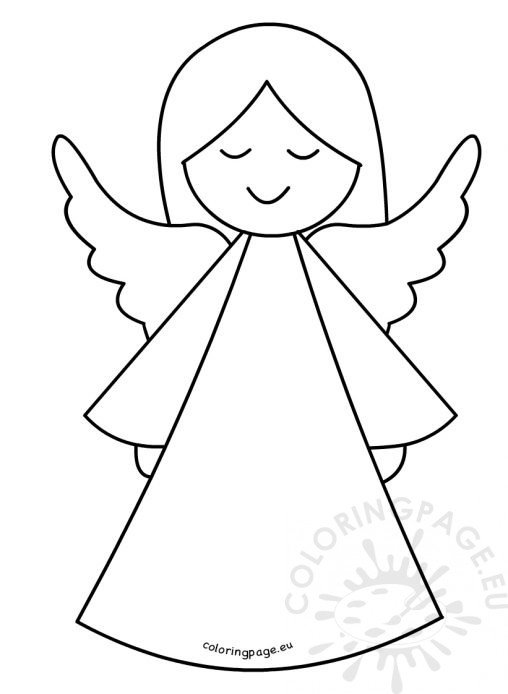Coloring page for Angel tree decoration template