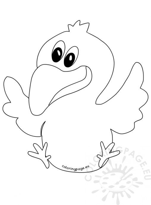 flying crow coloring page - animal coloring page