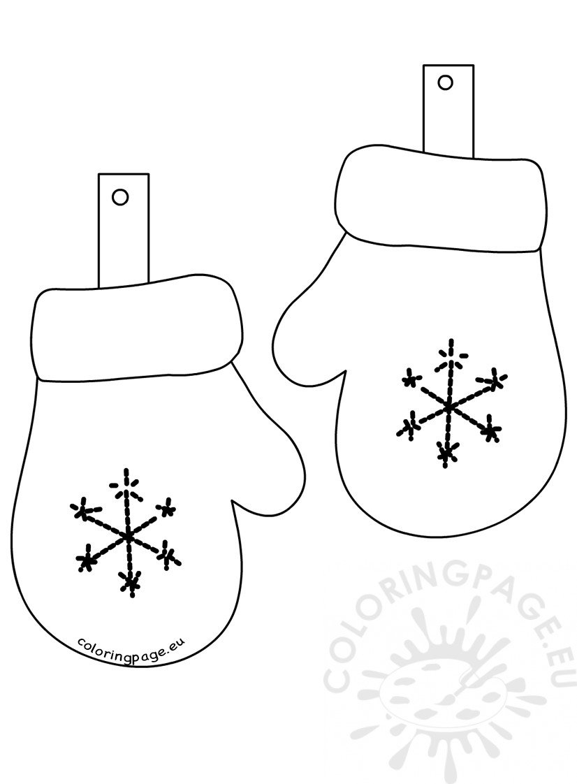 Winter coloring page Glove Garland