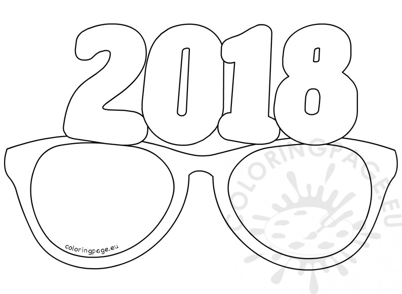 paper party glasses 2018 - Coloring Page 2018