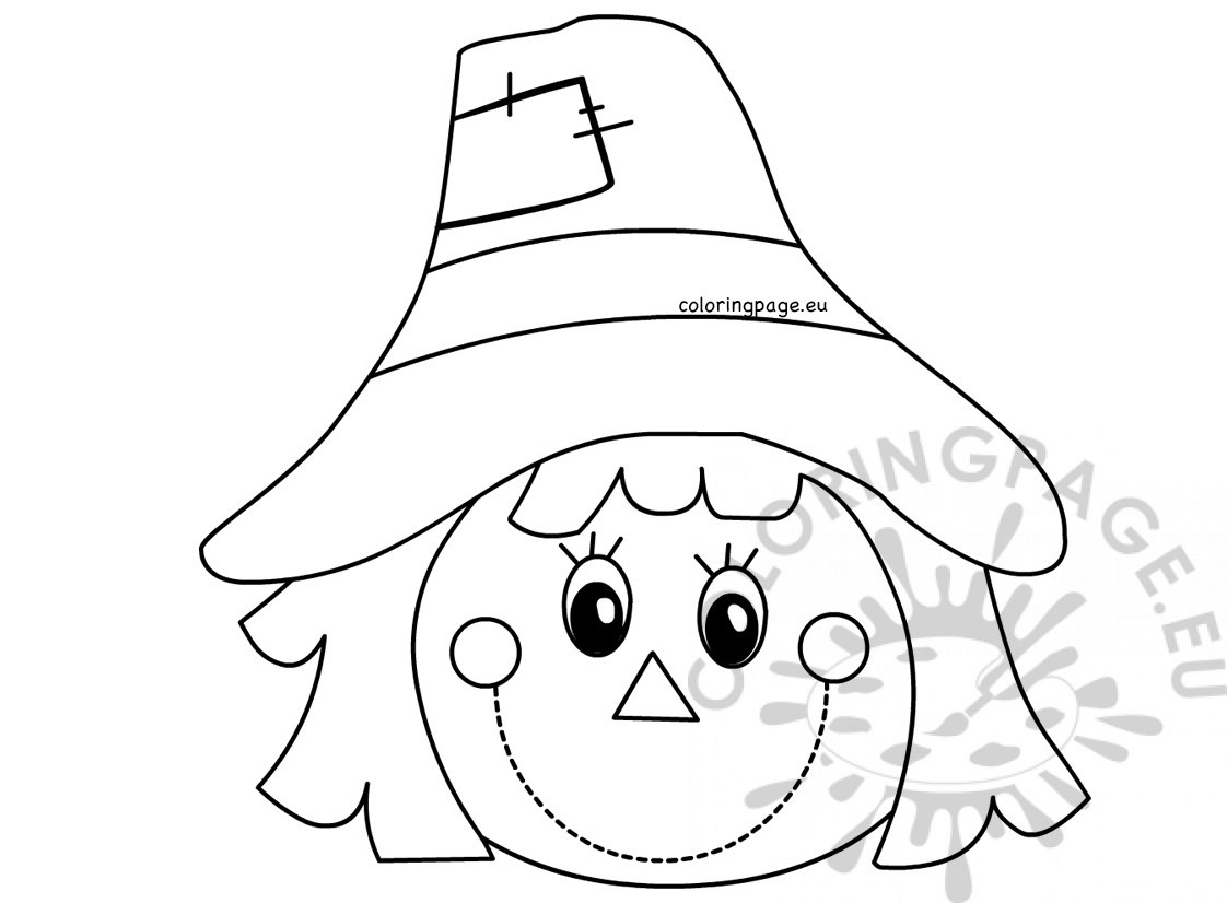 autumn coloring page scarecrow face coloring page