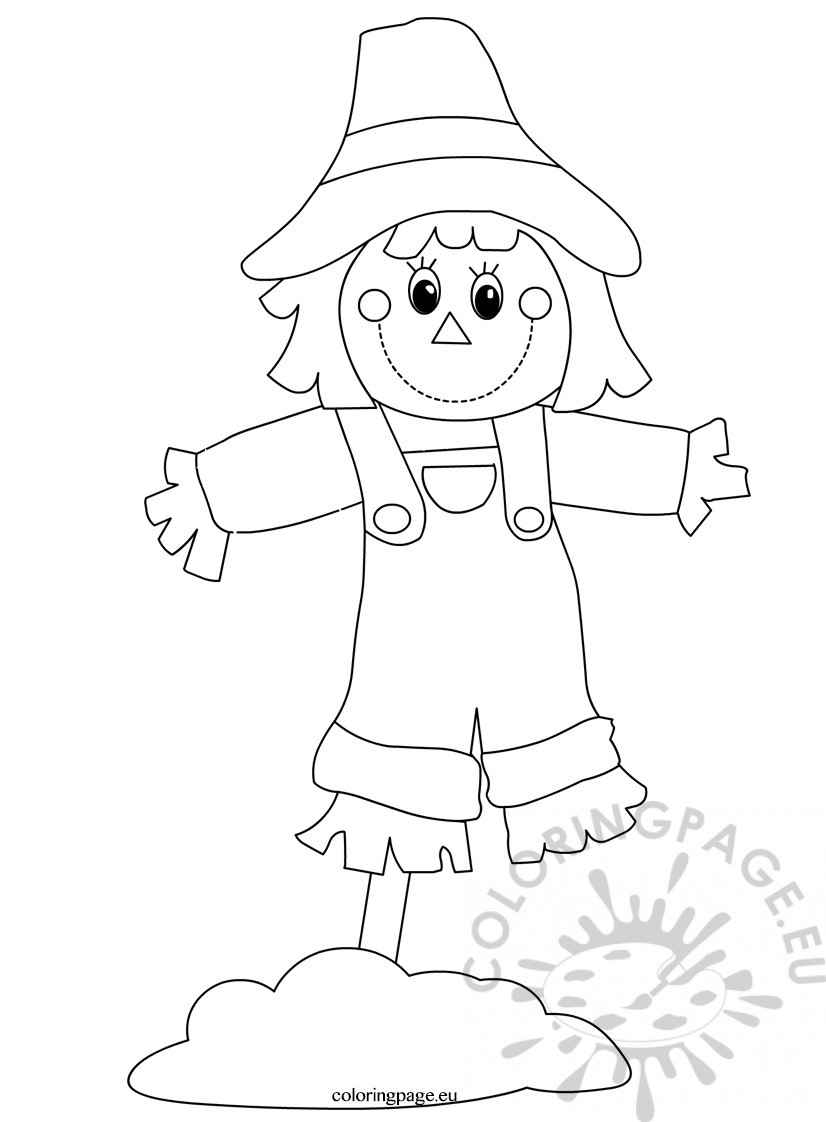 Preschool seasons worksheets Scarecrow - Coloring Page