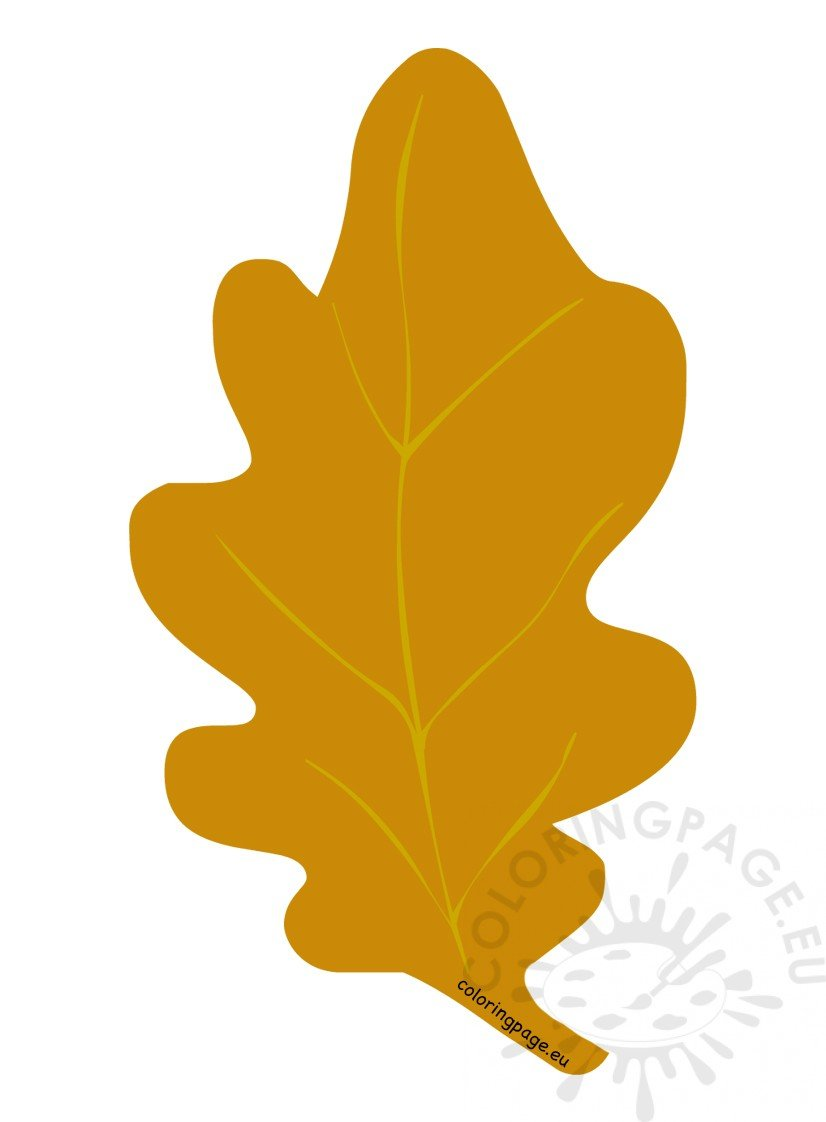 yellow autumn oak leaf coloring page