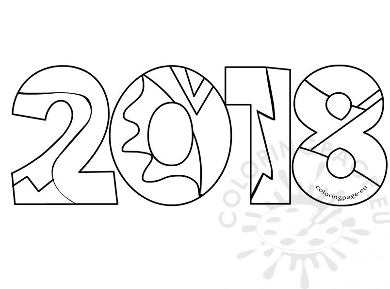 2018 New Year Adult Coloring Book Coloring Page New Year Coloring Pages