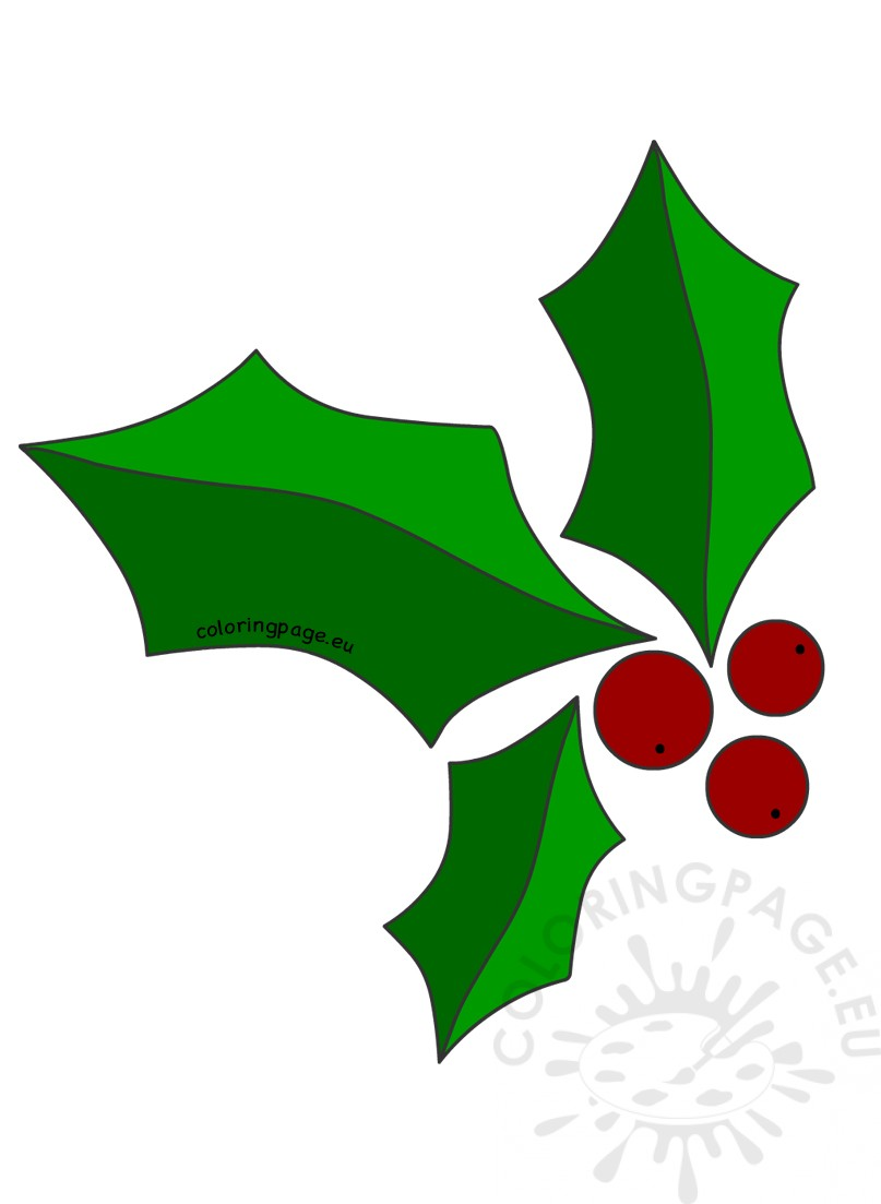Green Christmas holly image | Coloring Page