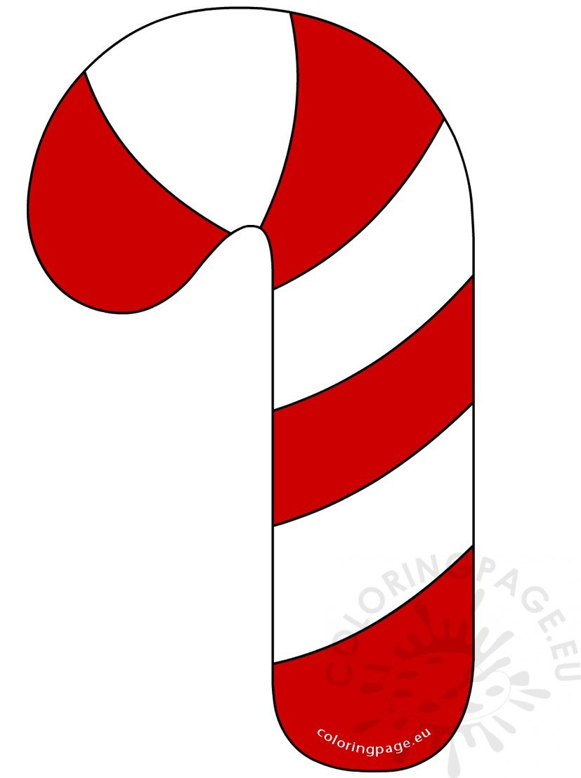 Red and White Candy Cane clipart - Coloring Page