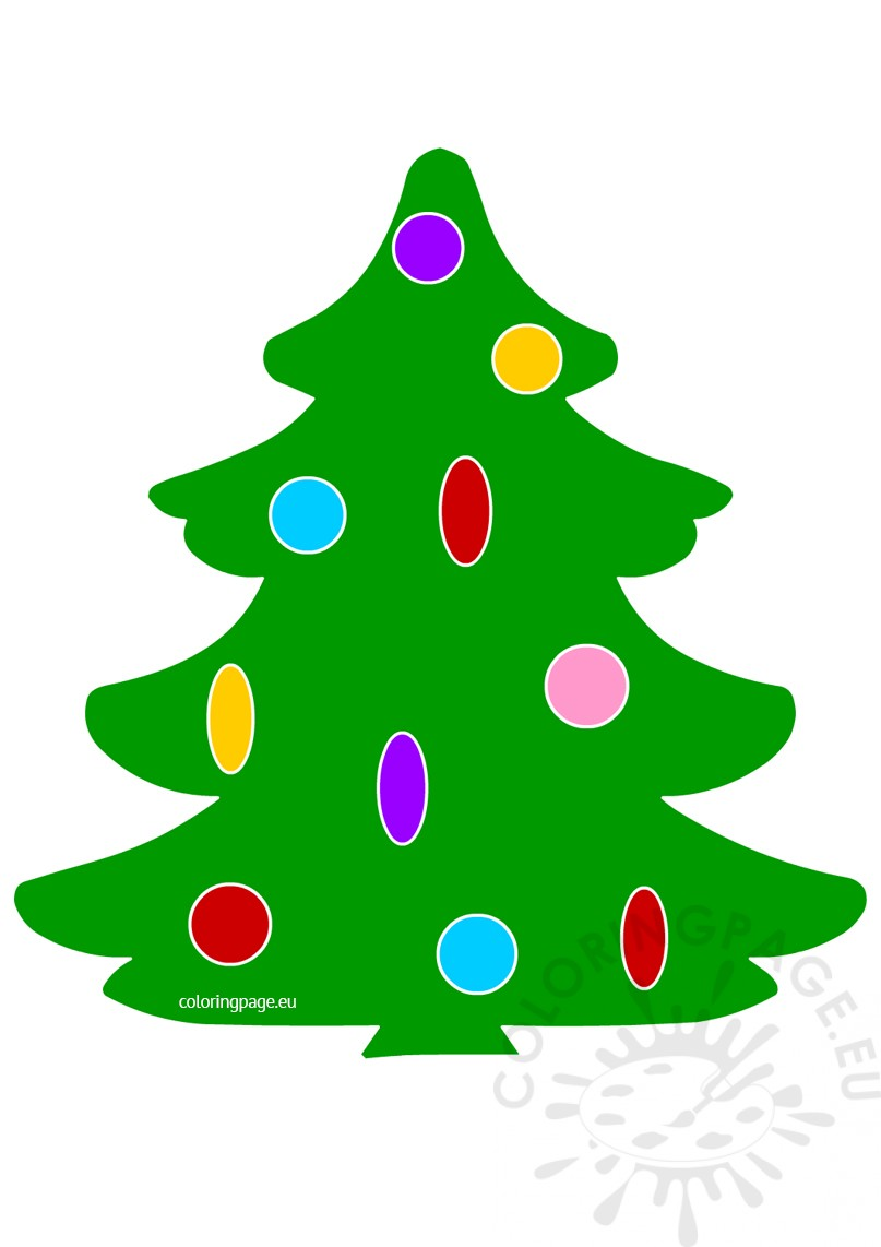 Christmas Tree with Ornament cartoon clipart | Coloring Page
