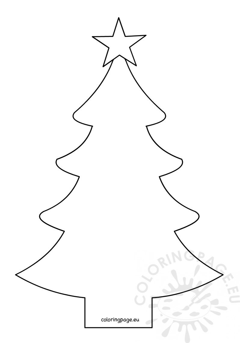 Christmas tree shape with fivepointed star Coloring Page