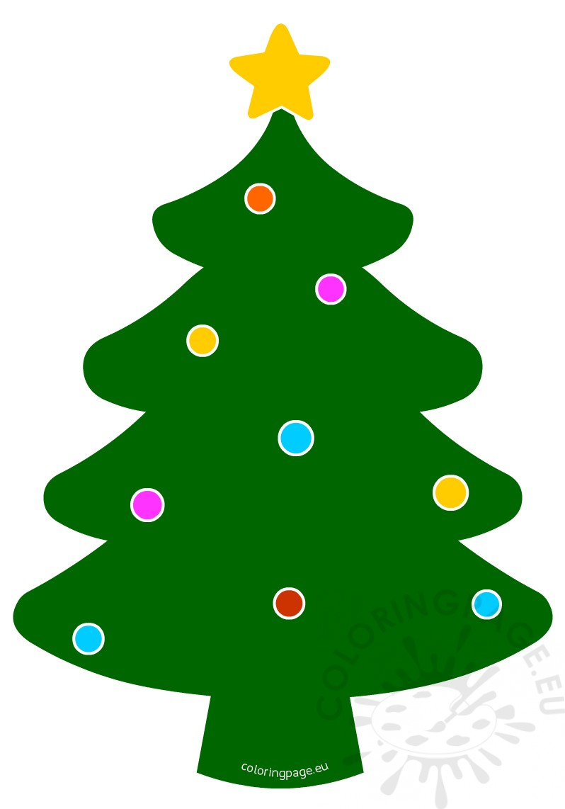 Christmas tree with balls and star | Coloring Page