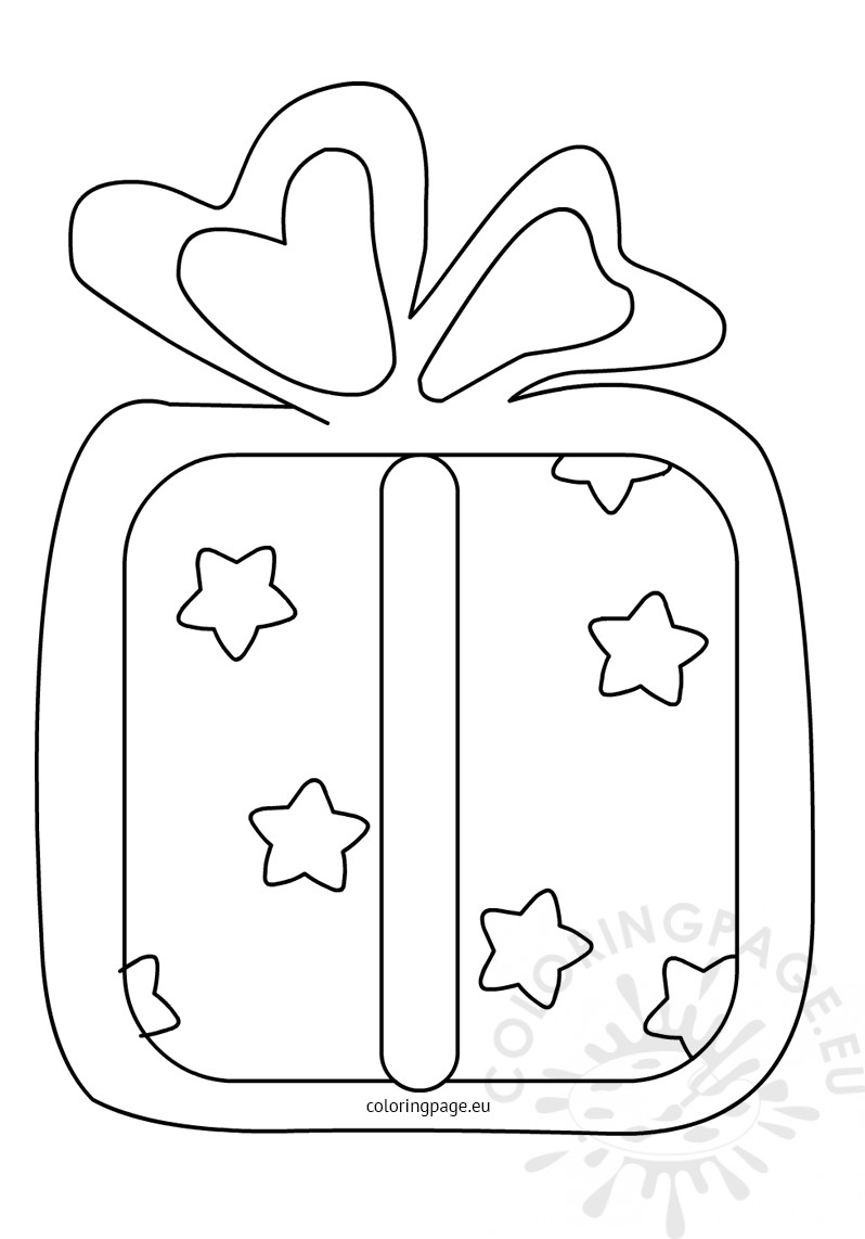 Gift box stars ribbon