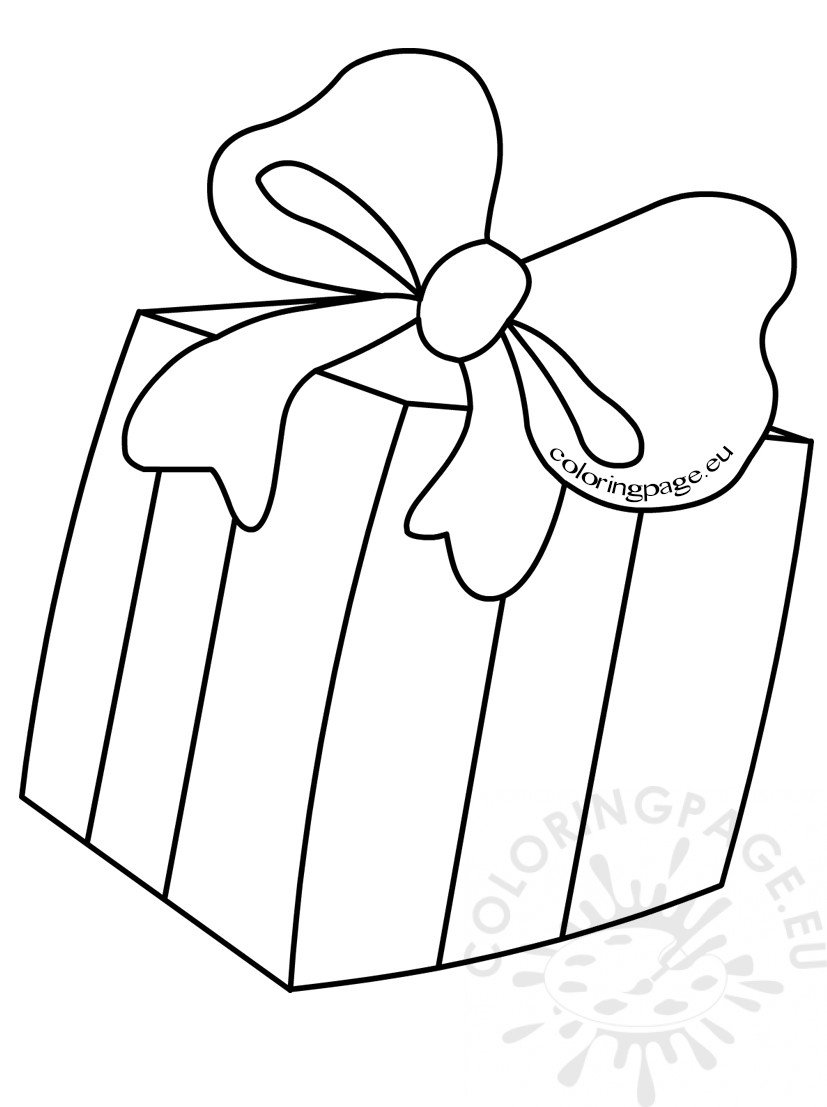 Kids Coloring Pages Gift box with bow Coloring Page