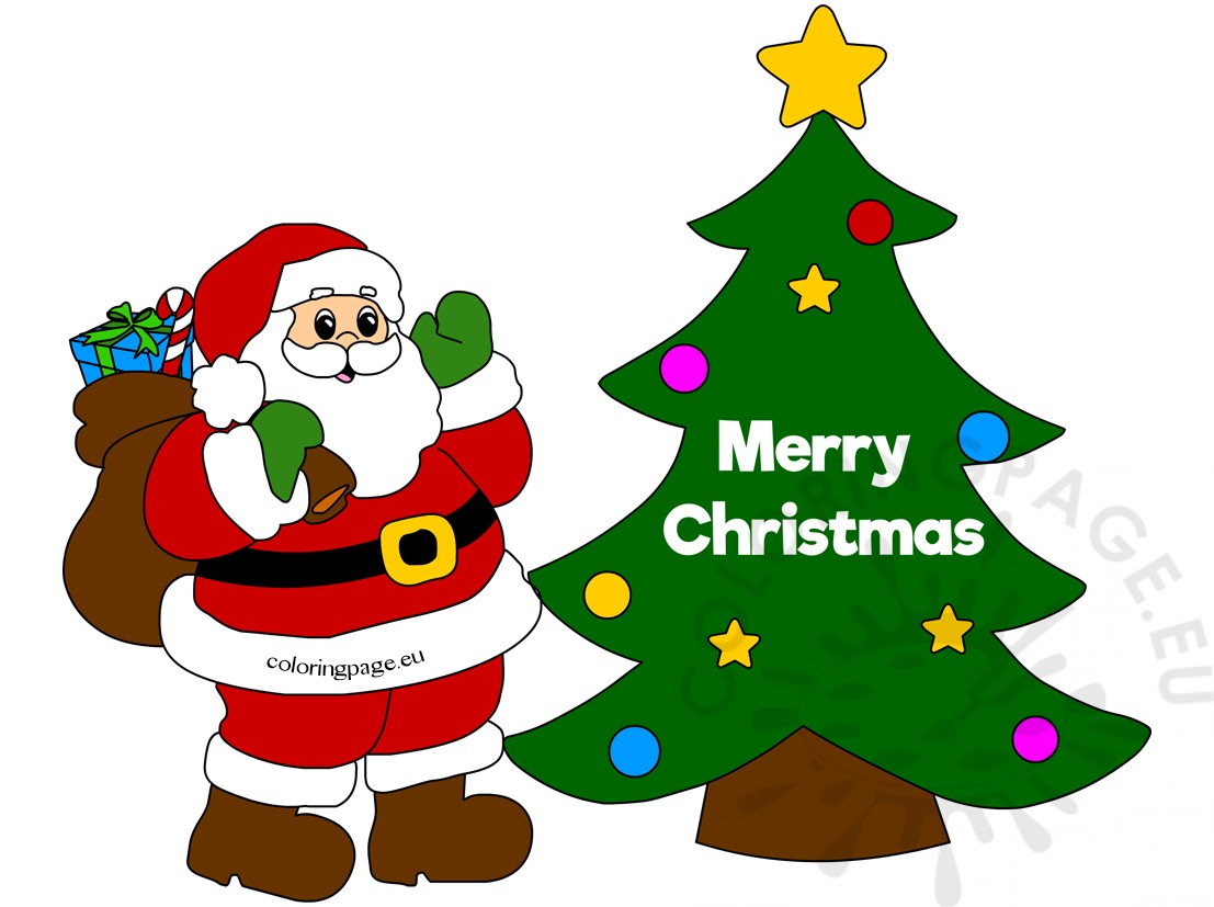 Merry Christmas greeting card with Santa | Coloring Page