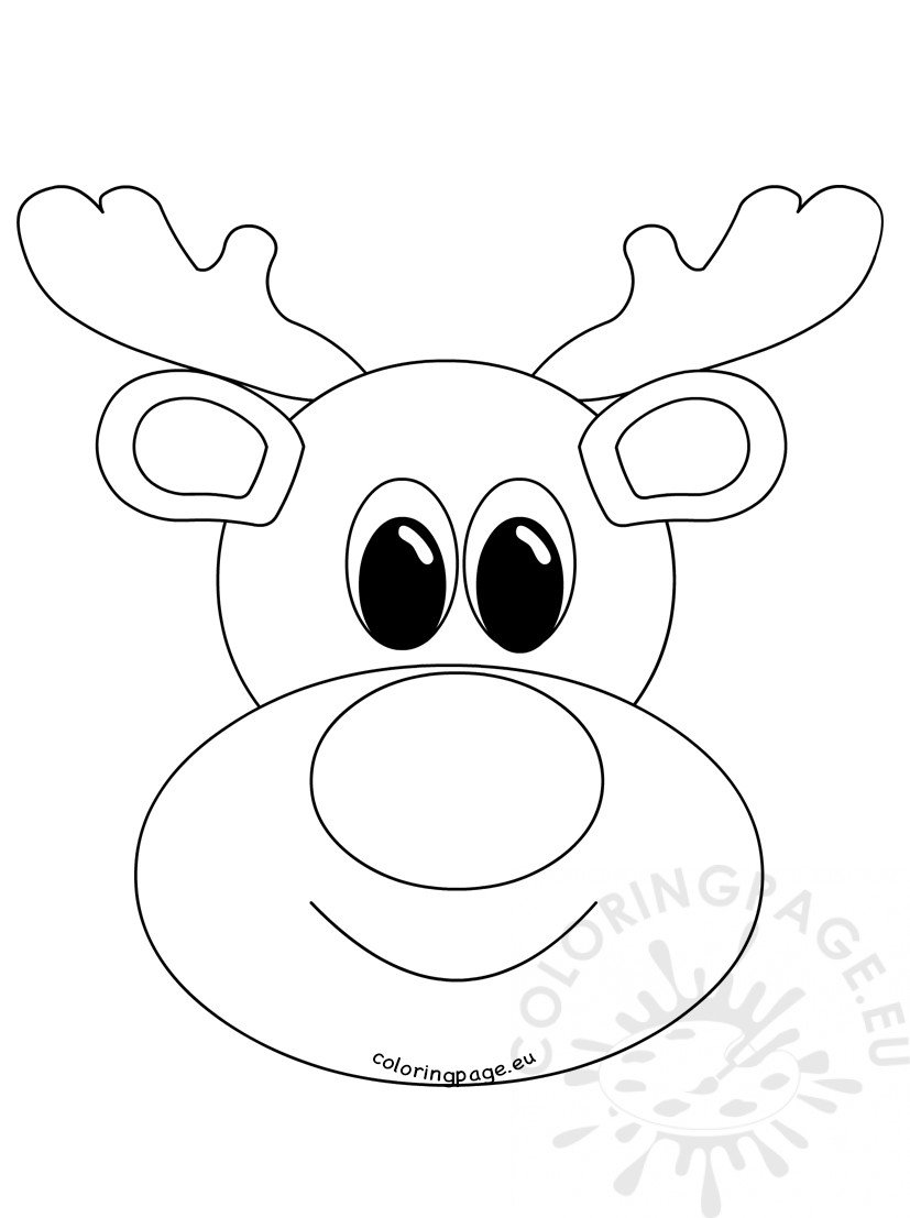 Rudolph Reindeer Face craft Coloring