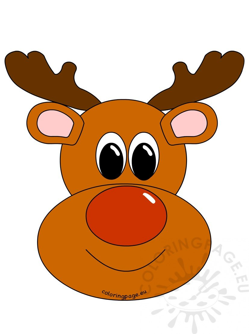 Rudolph Reindeer Face image | Coloring Page