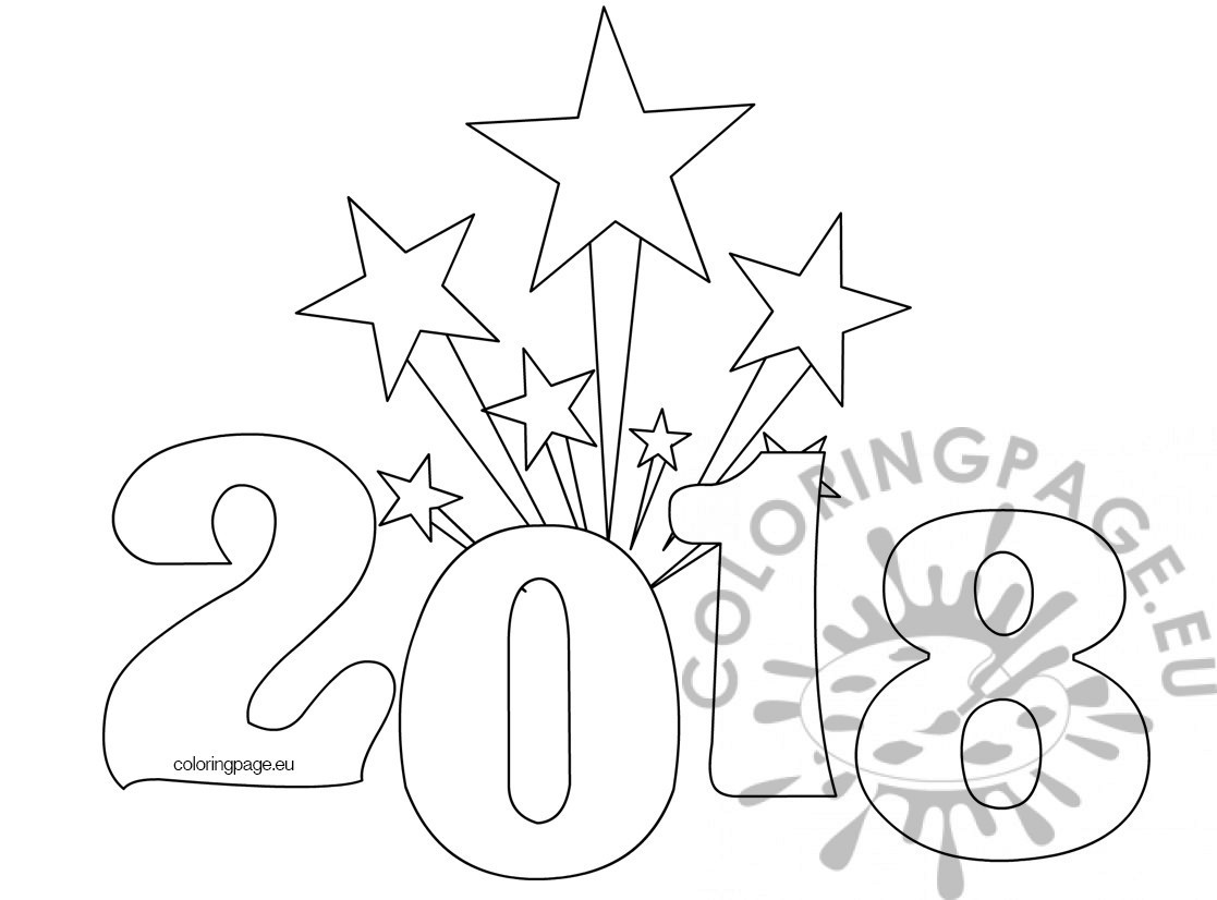 printable new years coloring page 2018 - Coloring Page 2018
