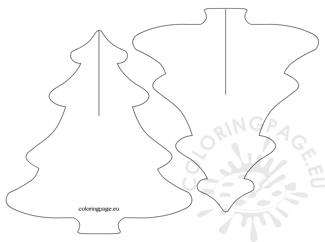 3d christmas tree templates - Coloring Page