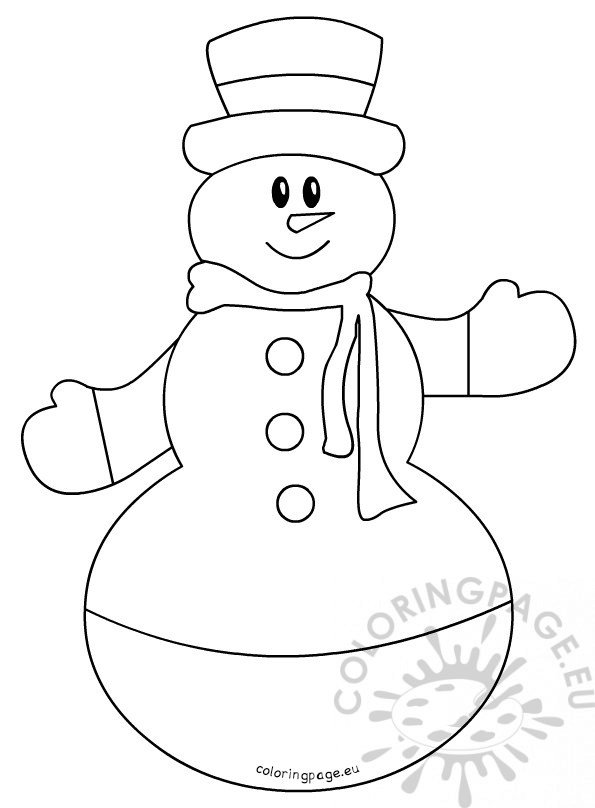 Childrens coloring pages Snowman with hat and scarf Coloring Page
