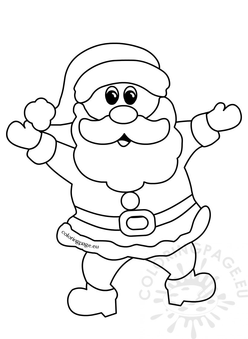 Cheerful Santa Claus Christmas cartoon outline
