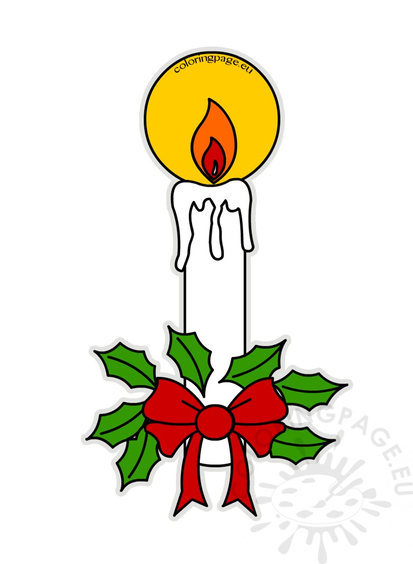 Christmas candle and holly berry clipart