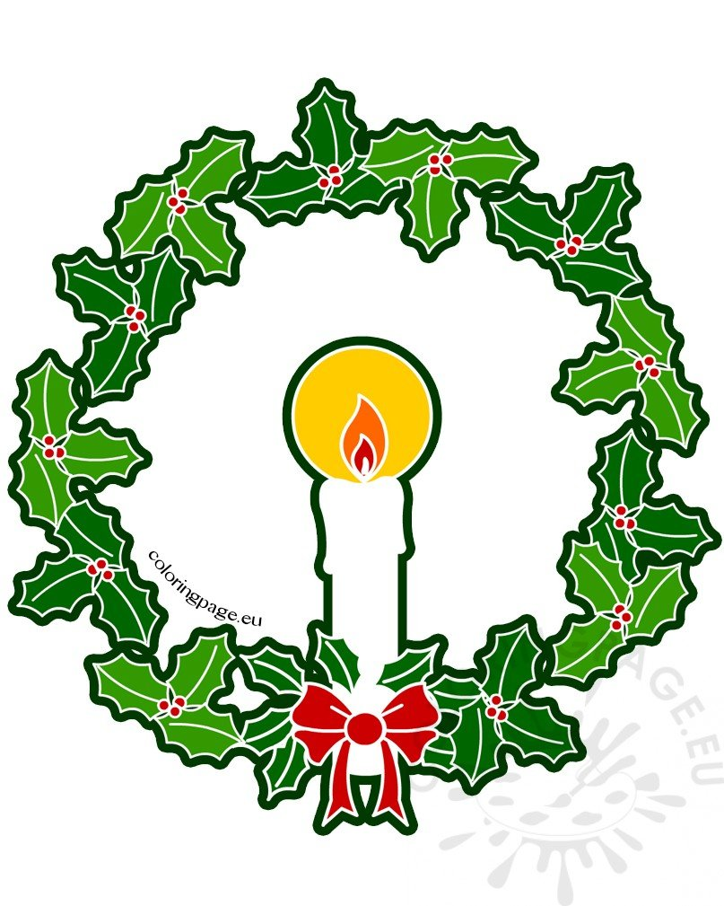 Christmas wreath and candle Illustration