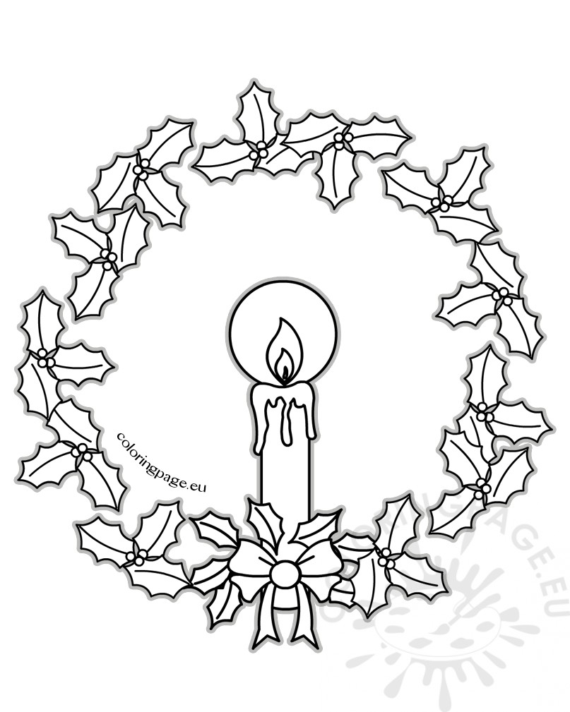 Christmas candle and christmas wreath coloring page for Christmas wreath coloring pages