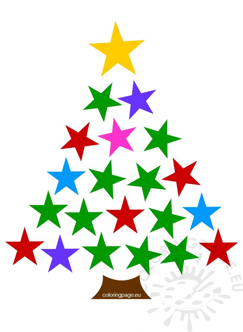 Colored stars christmas tree clipart | Coloring Page