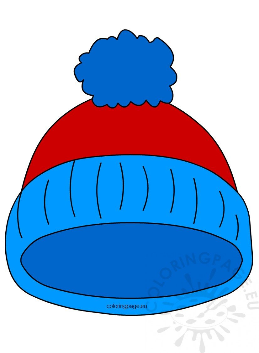 Blue Pom Pom Winter Hat Coloring