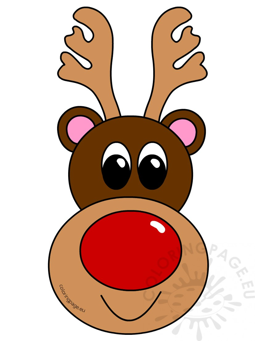 Reindeer head. Christmas clipart coloring page