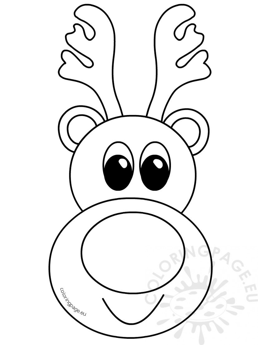 Cute Reindeer head cartoon outline