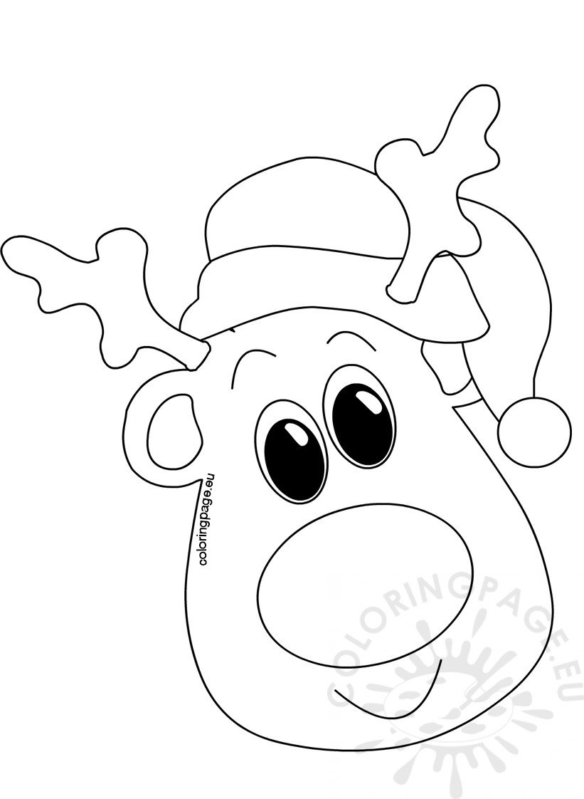 Christmas coloring pages Head with Santa Hat – Coloring Page