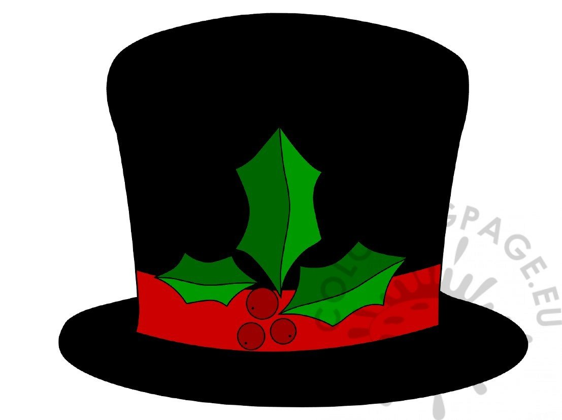 snowman hat with holly image - Snowman Hat Coloring Page